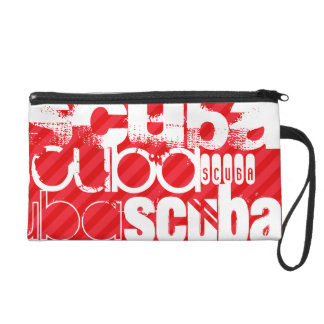 Scuba; Scarlet Red Stripes Wristlet