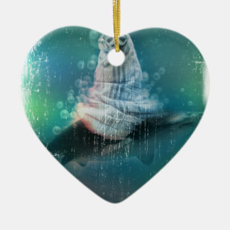 Scuba Seal Shark Life Funny Ceramic Heart Decoration