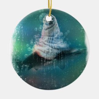 Scuba Seal Shark Life Funny Round Ceramic Decoration