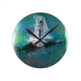 Scuba Seal Shark Life Funny Round Clock