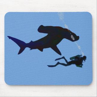 SCUBA shark mouse pad
