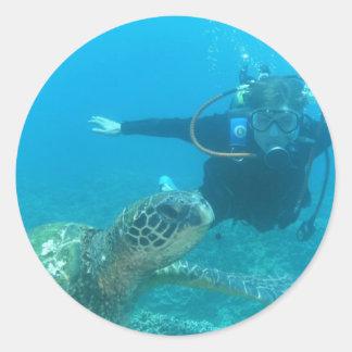 Scuba Underwater Life Classic Round Sticker