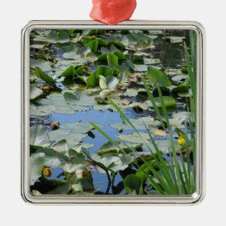 Scudder Pond Silver-Colored Square Decoration