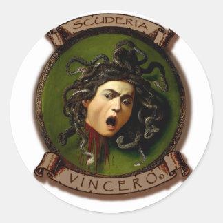 Scuderia Vincero! Testa Medusa Classic Round Sticker