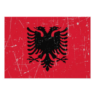 Scuffed and Scratched Albanian Flag Personalized Announcements