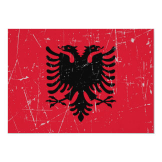 "Scuffed and Scratched Albanian Flag 5"" X 7"" Invitation Card"