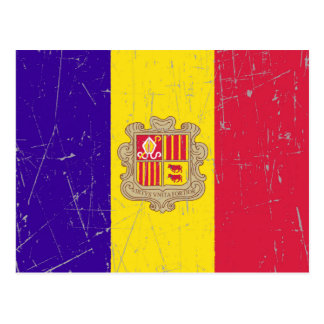 Scuffed and Scratched Andorran Flag Postcard