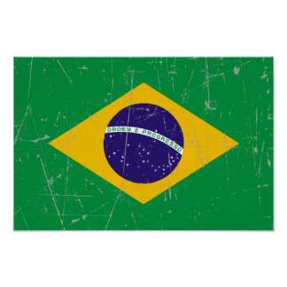 Scuffed and Scratched Brazilian Flag Print