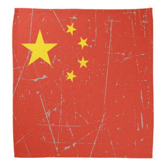 Scuffed and Scratched Chinese Flag Bandana