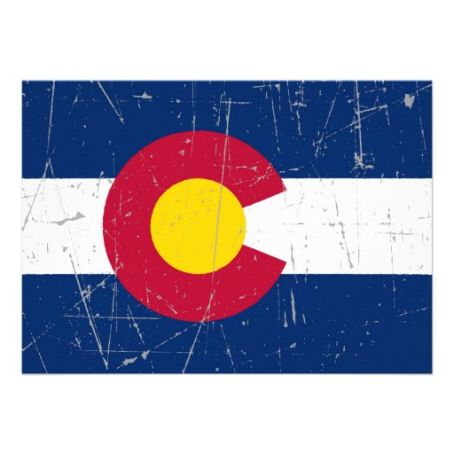 Scuffed and Scratched Colorado Flag Custom Announcements