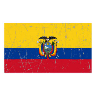 Scuffed and Scratched Ecuador Flag Business Card Templates