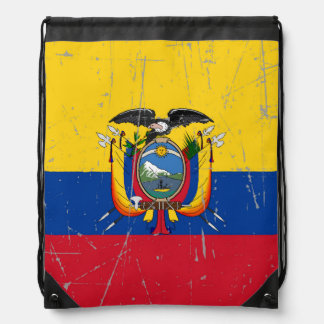 Scuffed and Scratched Ecuador Flag Drawstring Backpacks