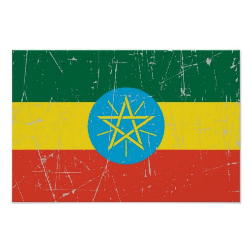 Scuffed and Scratched Ethiopian Flag Print