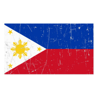 Scuffed and Scratched Filipino Flag Business Card