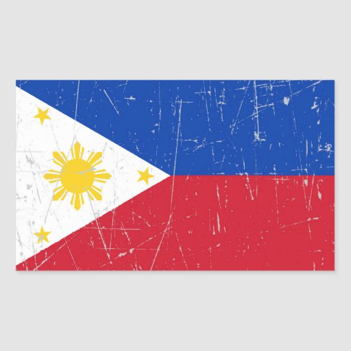 Scuffed and Scratched Filipino Flag Rectangular Stickers