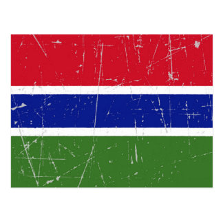 Scuffed and Scratched Gambia Flag Postcard