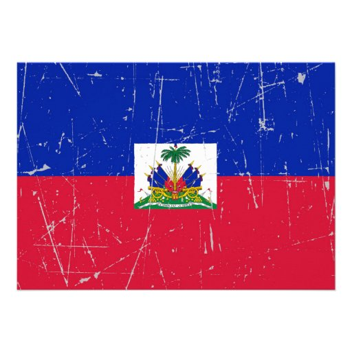 Scuffed and Scratched Haitian Flag Custom Invites