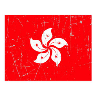 Scuffed and Scratched Hong Kong Flag Postcard