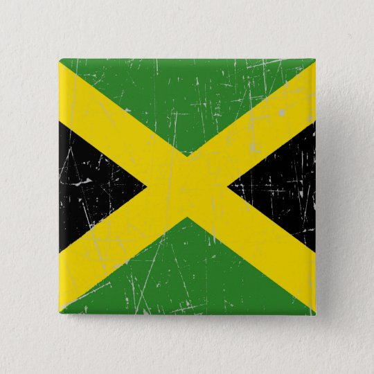 Scuffed and Scratched Jamaican Flag 15 Cm Square Badge