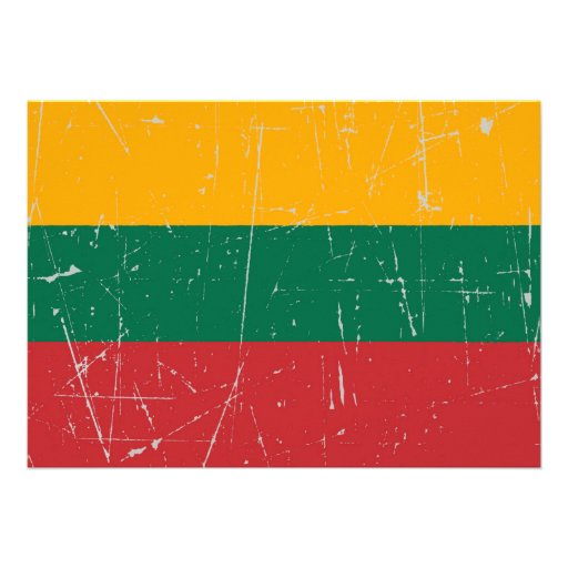 Scuffed and Scratched Lithuanian Flag Custom Invite