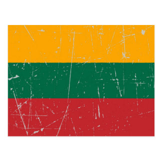 Scuffed and Scratched Lithuanian Flag Post Card