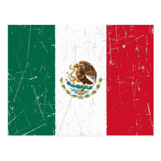 Scuffed and Scratched Mexican Flag Postcard