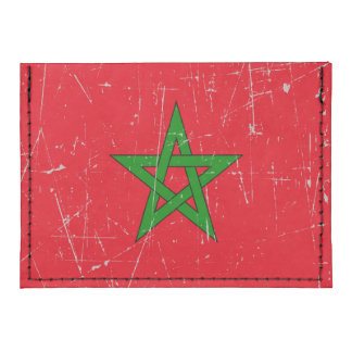 Scuffed and Scratched Morocco Flag Tyvek® Card Case Wallet