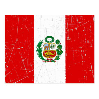Scuffed and Scratched Peruvian Flag Postcard