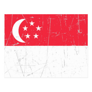 Scuffed and Scratched Singapore Flag Postcard