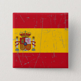 Scuffed and Scratched Spanish Flag 15 Cm Square Badge