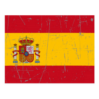 Scuffed and Scratched Spanish Flag Postcard