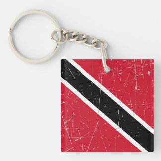 Scuffed and Scratched Trinidad and Tobago Flag Double-Sided Square Acrylic Key Ring
