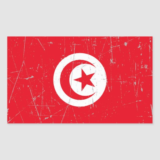Scuffed and Scratched Tunisian Flag Rectangle Stickers