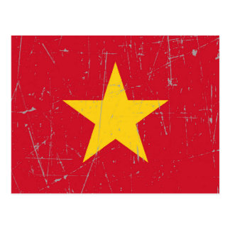 Scuffed and Scratched Vietnamese Flag Postcard