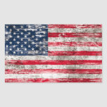 Scuffed and Worn American Flag Rectangle Sticker