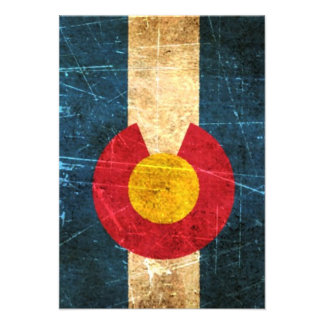 Scuffed and Worn Colorado Flag Personalized Announcements