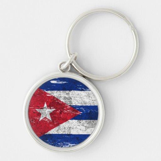 Scuffed and Worn Cuban Flag Keychain