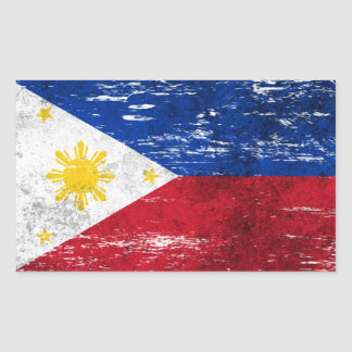 Scuffed and Worn Filipino Flag Rectangular Sticker