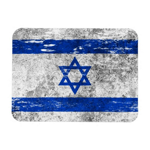 Scuffed and Worn Israeli Flag Rectangle Magnets