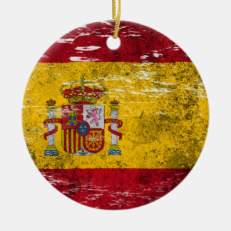 Scuffed and Worn Spanish Flag Christmas Ornament