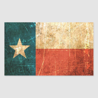 Scuffed and Worn Texas Flag Rectangle Sticker
