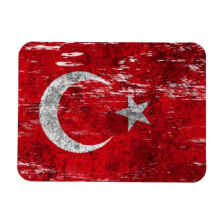 Scuffed and Worn Turkish Flag Rectangular Photo Magnet