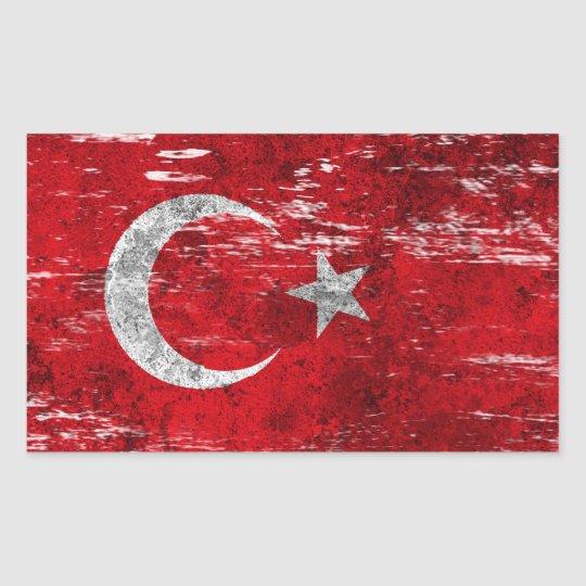 Scuffed and Worn Turkish Flag Rectangular Sticker