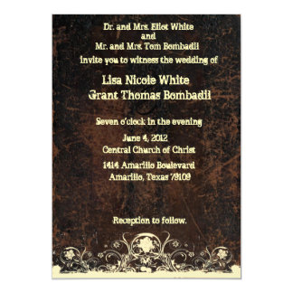 "Scuffed Leather Look, Shabby Lace Wedding 5"" X 7"" Invitation Card"