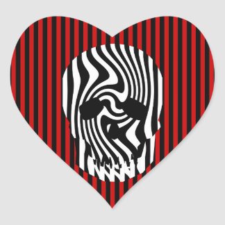 Scull and Stripes Op Art Heart Sticker