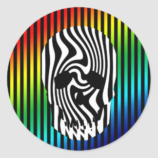 Scull and Stripes Op Art Round Sticker