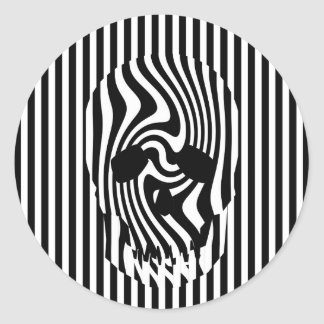 Scull and Stripes Op Art Sticker