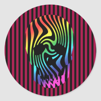 Scull and Stripes, Op Art Round Sticker