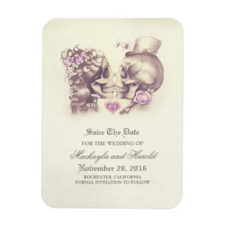 Scull couple Day of the Dead Save the Date Magnet