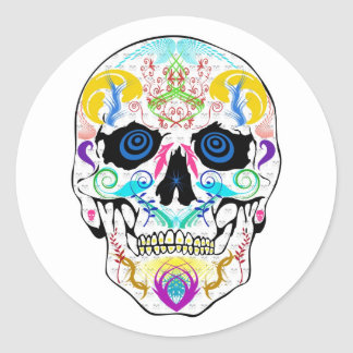 Scull Round Stickers